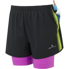 Ronhill Womens Infinity Fuel Twin Running Shorts Black/Thistle