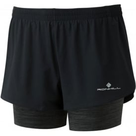 Ronhill Womens Stride Twin Running Shorts Black/Charcoal