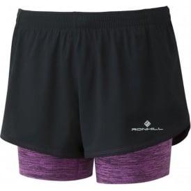 Ronhill Womens Stride Twin Running Shorts Black/Thistle Marl