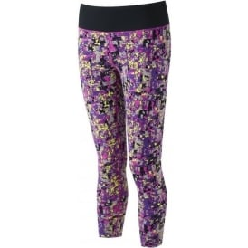 Ronhill Momentum Crop Running Tights Womens Mosaic Print Purple Thistle