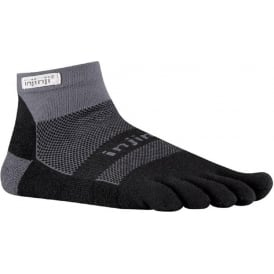 Injinji Socks Run Midweight Mini Crew Running Socks Black/Grey Running Toe Socks