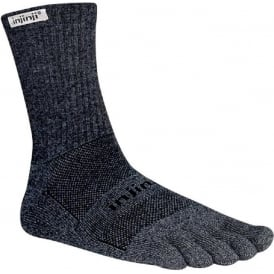 Injinji Socks Trail Midweight Crew Granite Running Toe Socks