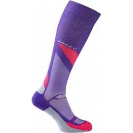 Hilly Marathon Fresh Compression Sock Womens Purple/Pink/Grey