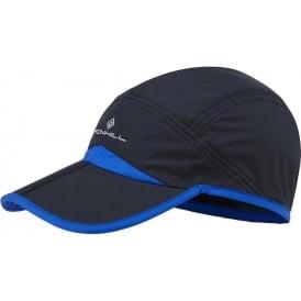 Ronhill Running Cap w/ Split Peak Black/Blue (Velcro Adjustable One Size)