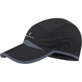 Ronhill Running Cap w/ Split Peak Black/Grey (Velcro Adjustable One Size)