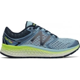 New Balance 1080 V7 Womens B STANDARD WIDTH Road Running Shoes Blue/Lime
