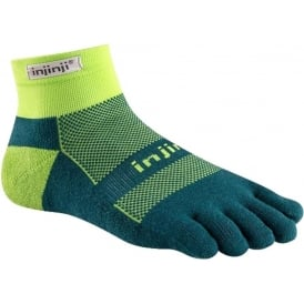 Injinji Socks Run Midweight Mini Crew Chive Running Toe Socks