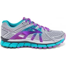 Brooks Adrenaline GTS 17 Womens D (WIDE WIDTH) Road Running Shoes Silver/Purple Cactus Flower/Bluebird
