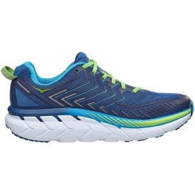 Hoka Clifton 4 Mens WIDE FITTING Road Running Shoes True Blue/Jasmine Green