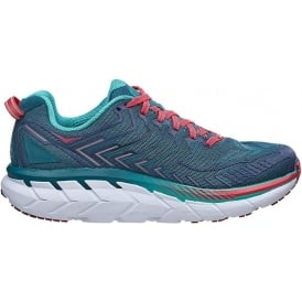 Hoka Clifton 4 Womens WIDE FITTING Road Running Shoes Blue Coral/Ceramic