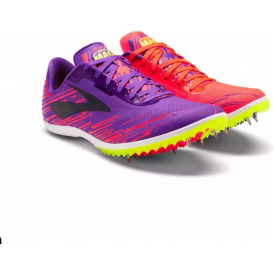 Brooks Mach 18 Womens Cross Country Running Spikes Fiery Coral/Electric Purple/Nightlife