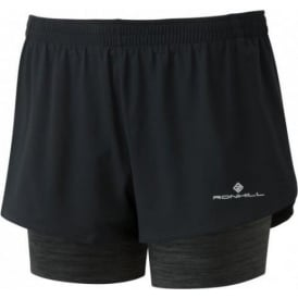 Ronhill Womens Stride Twin Running Shorts Black/Charcoal Marl