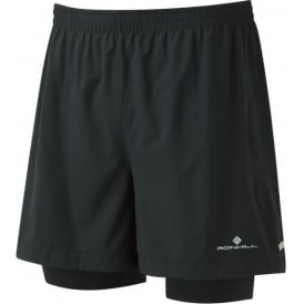 "Ronhill Mens Stride Twin 5"" Running Shorts All Black"