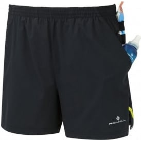 Ronhill Mens Stride Cargo Running Shorts Black/Fluo Yellow