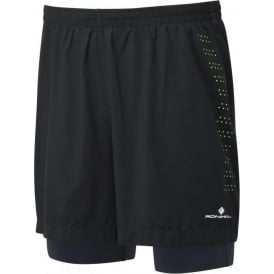 Ronhill Mens Infinity Fuel Twin Running Shorts Black/Charcoal/FYel