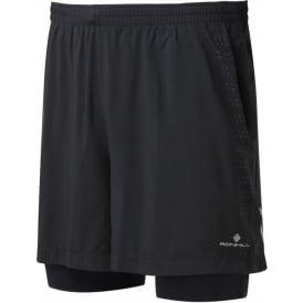 Ronhill Mens Infinity Fuel Twin Running Shorts All Black