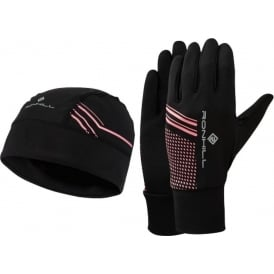 Ronhill Running Beanie and Glove Set Black/Hot Pink