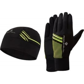 Ronhill Running Beanie and Glove set Black/Fluo Yellow