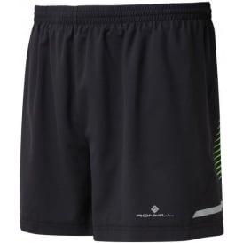 "Ronhill Mens Stride 5"" Running Shorts Black/Cobalt/Gecko"