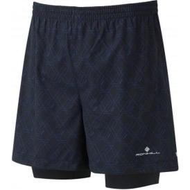 """Ronhill Mens Momentum Twin 5"""" Running Shorts Hex Print Cobalt"""