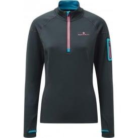 Ronhill Stride Winter 1/2 Zip Womens Running Long Sleeve Top Charcoal/Deep Cyan