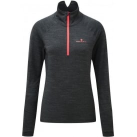 Ronhill Stride Thermal Womens Long Sleeve Running Top Charcoal Marl/Hot Pink