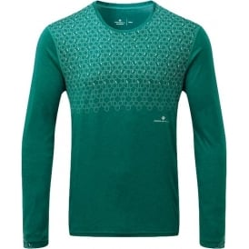 Ronhill Momentum Sirius Mens Long Sleeved Running T-shirt Spruce Green