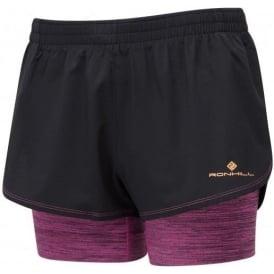 Ronhill Stride Twin Womens Running Shorts with Lyrcra Inner Short Black/Razz Marl