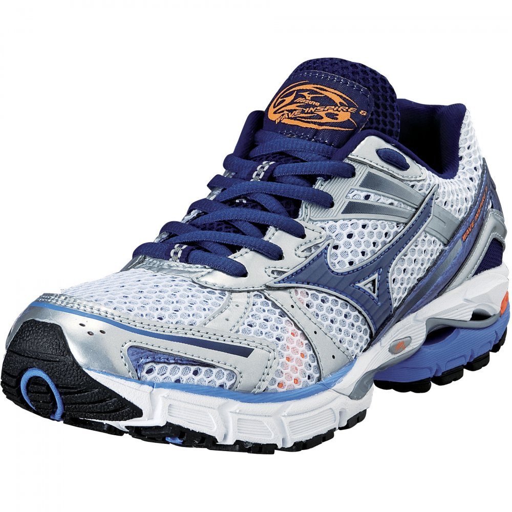 Mizuno Wave Inspire 8 Road Running Shoes White/Persian Jewel/Dress Blue  Womens
