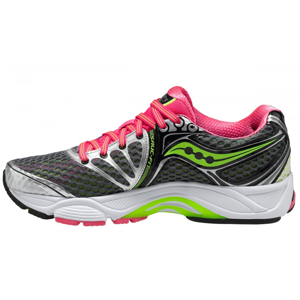 ... Saucony PowerGrid Triumph 10 Road Running Shoes Grey/Pink/Citron Women's  ...