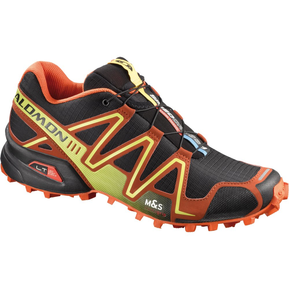 salomon speedcross 3 trail running shoes black orange yellow mens ebay. Black Bedroom Furniture Sets. Home Design Ideas
