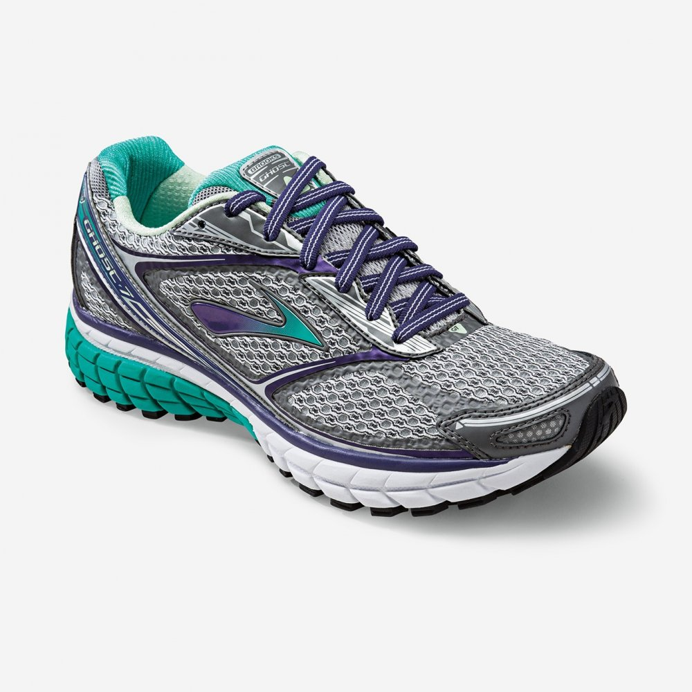 ghost 7 road running shoes silver purple green d width