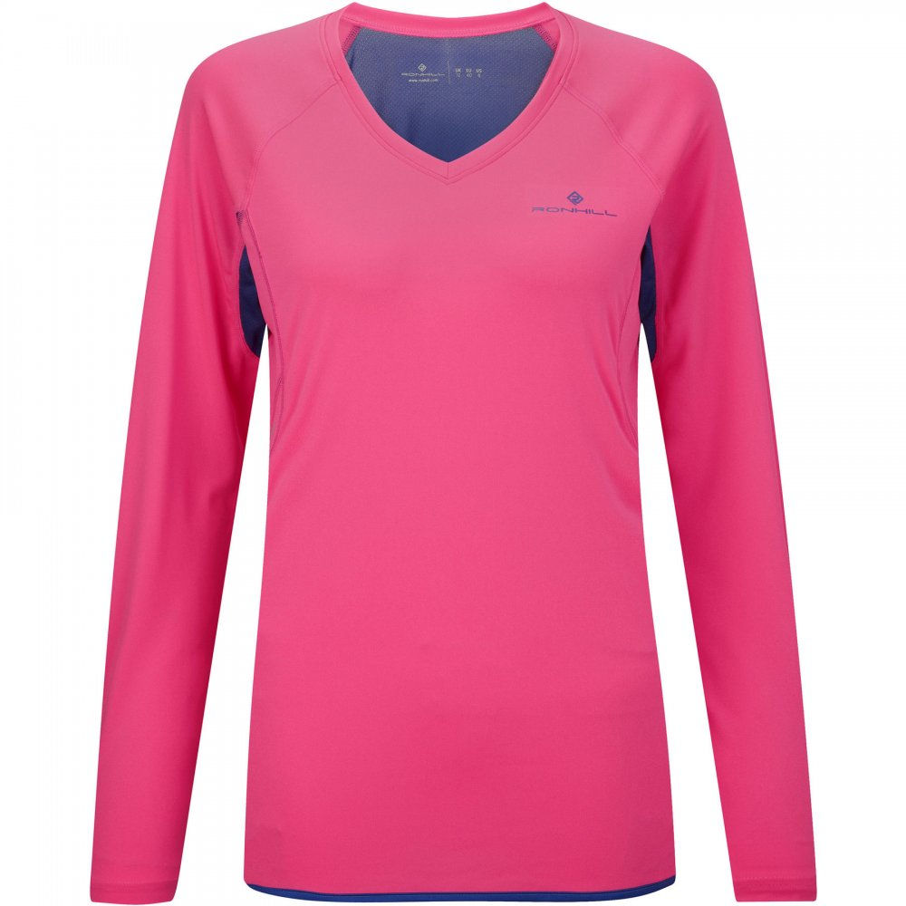 Women Clothing Long-Sleeve Tops Fluo Pink/Wildberry Ronhill Vizion Long Sleeve Running Tee