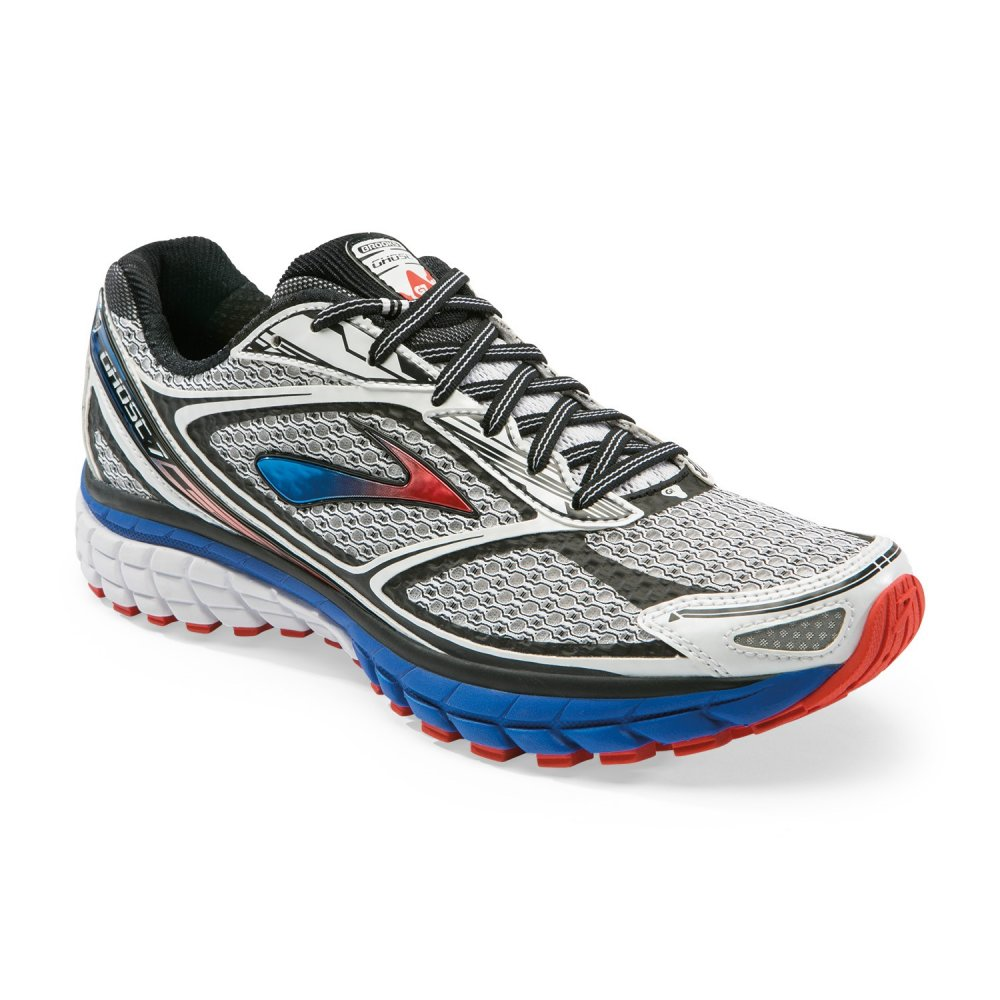 Men Shoes Neutral White/Electric/Torch Brooks Ghost 7 Running Shoes