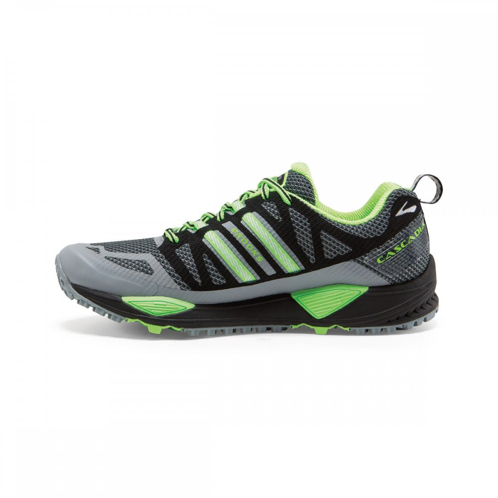 Brooks Cascadia 10 Trail Running Shoes Grey and Green Mens