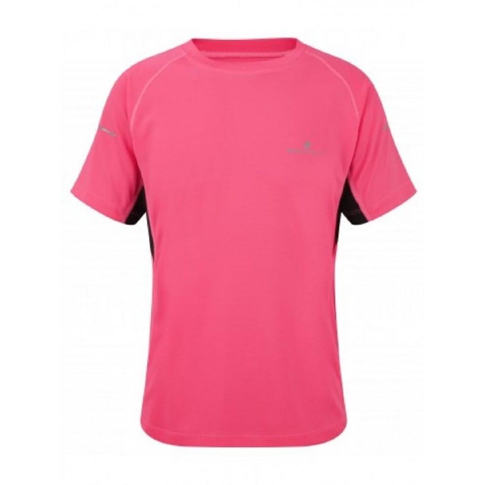 Ronhill Junior Pursuit Short Sleeve Tee Fluo Pink/Black