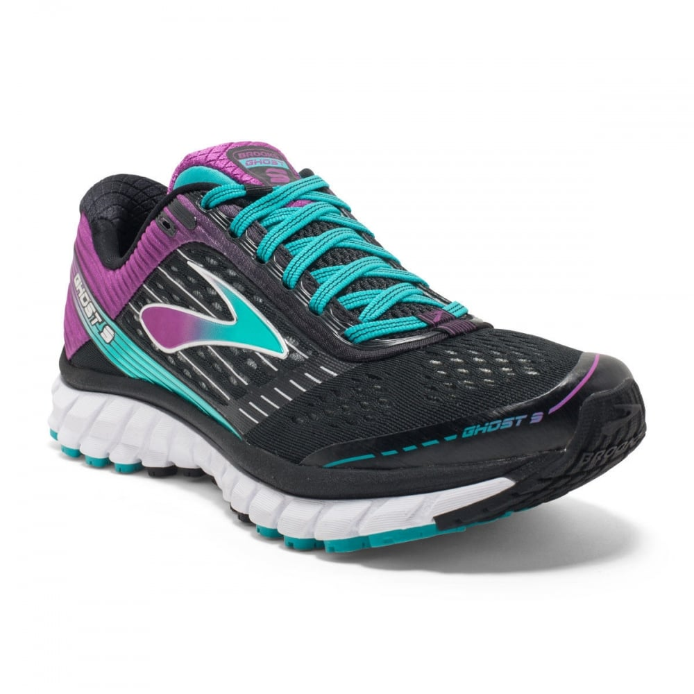 The Brooks Ghost 9 in Black and Purple D Width for Women