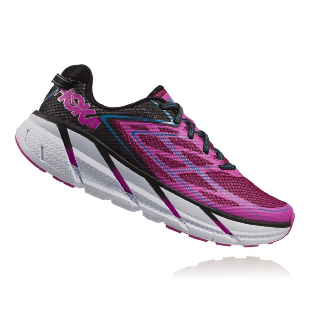The Hoka Clifton 3 in Anthracite and Neon Fuschia for