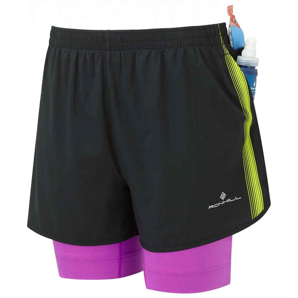 Womens Infinity Fuel Twin Running Shorts Black Thistle At