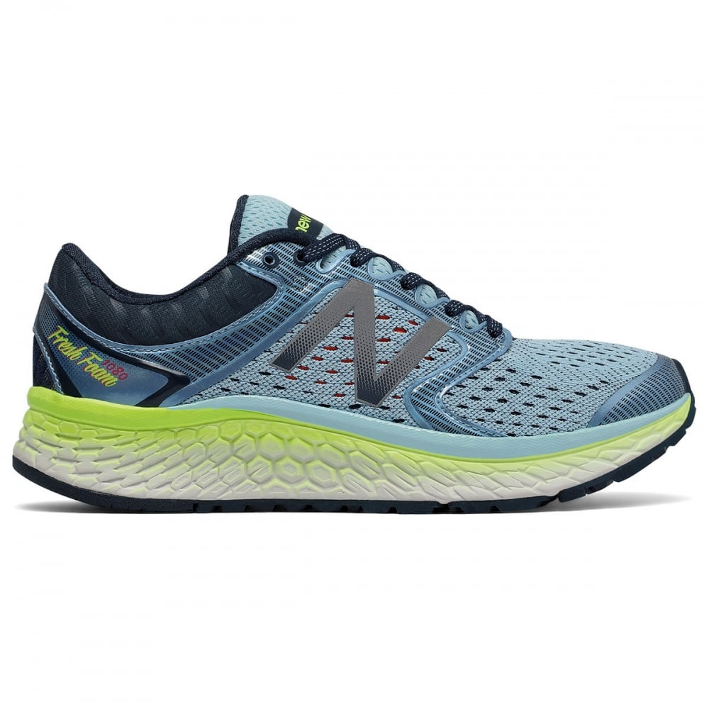 New Balance 1080 V7 Womens D WIDE WIDTH Road Running Shoes Blue/Lime