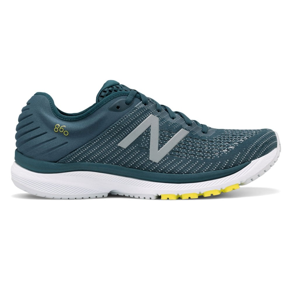 860 v10 Mens 4E Width (EXTRA WIDE) Road Running Shoes with Support for Overpronation Supercell with Orion Blue & Sulphur Yellow