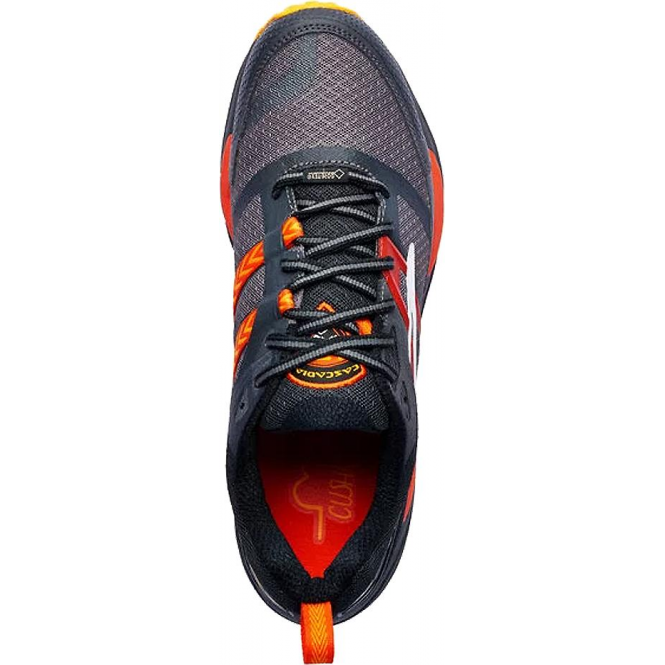 7f31d77b16c1c Cascadia 12 GTX Mens D STANDARD WIDTH Trail Running Shoes  Black Ebony Cherry Tomato