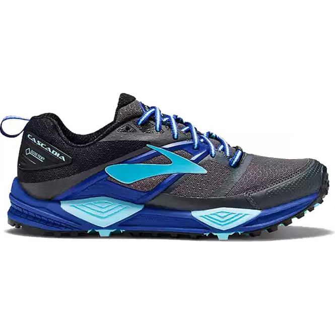 866df3849c441 Brooks Cascadia 12 GTX Womens B STANDARD WIDTH Trail Running Shoes  Black Ebony Clematis Blue Grey