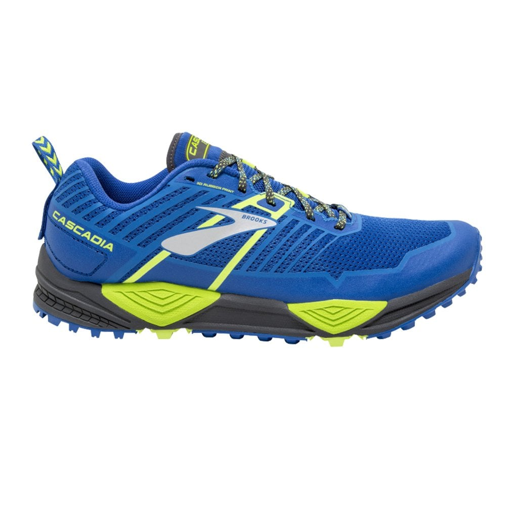Cascadia 13 Mens D Width Standard Cushioned Trail Running Shoes Blue Black Lime