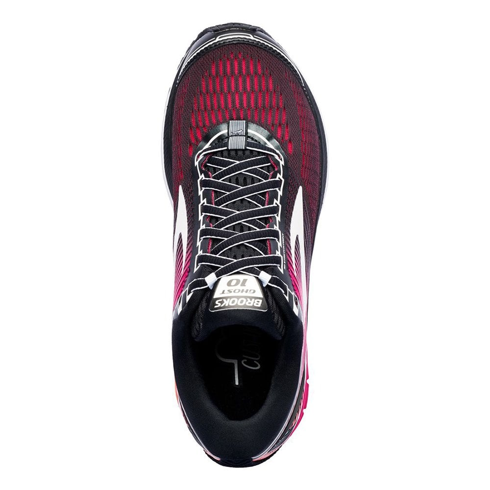 Brooks Women/'s Ghost 10 Black//Pink Peacock//Living Coral Running