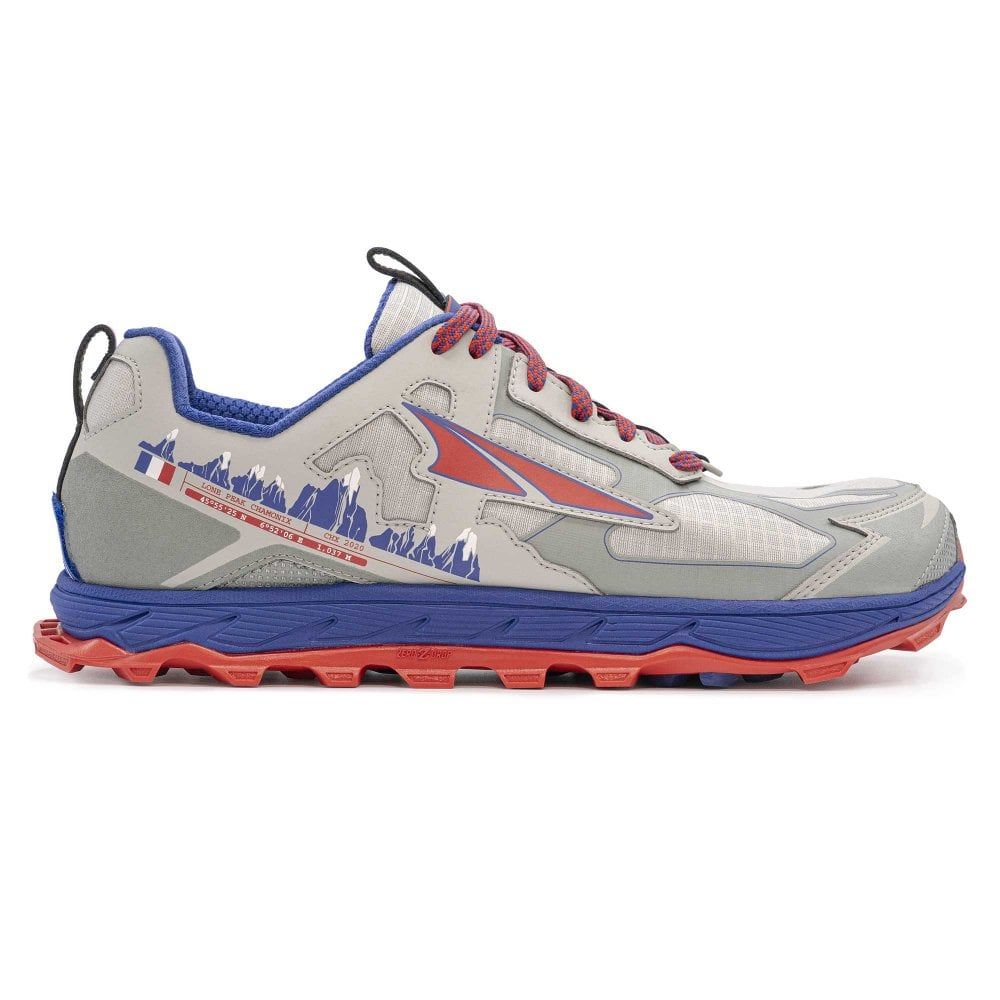 Lone Peak 4 5 Chamonix Mens Zero Drop Footshape Toe Box Trail Running Shoes Grey Blue At Northernrunner Com