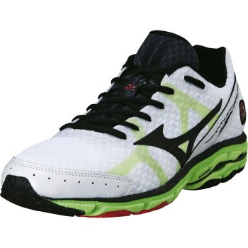 super popular 7c099 1c13a Mizuno Wave Rider 17 Road Running Shoes White/Black/Green/Flash Mens