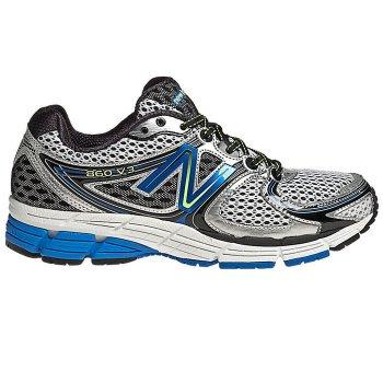 772e74c057233 New Balance 860 V3 Road Running Shoes Silver/Blue Mens (2E WIDTH - WIDE)