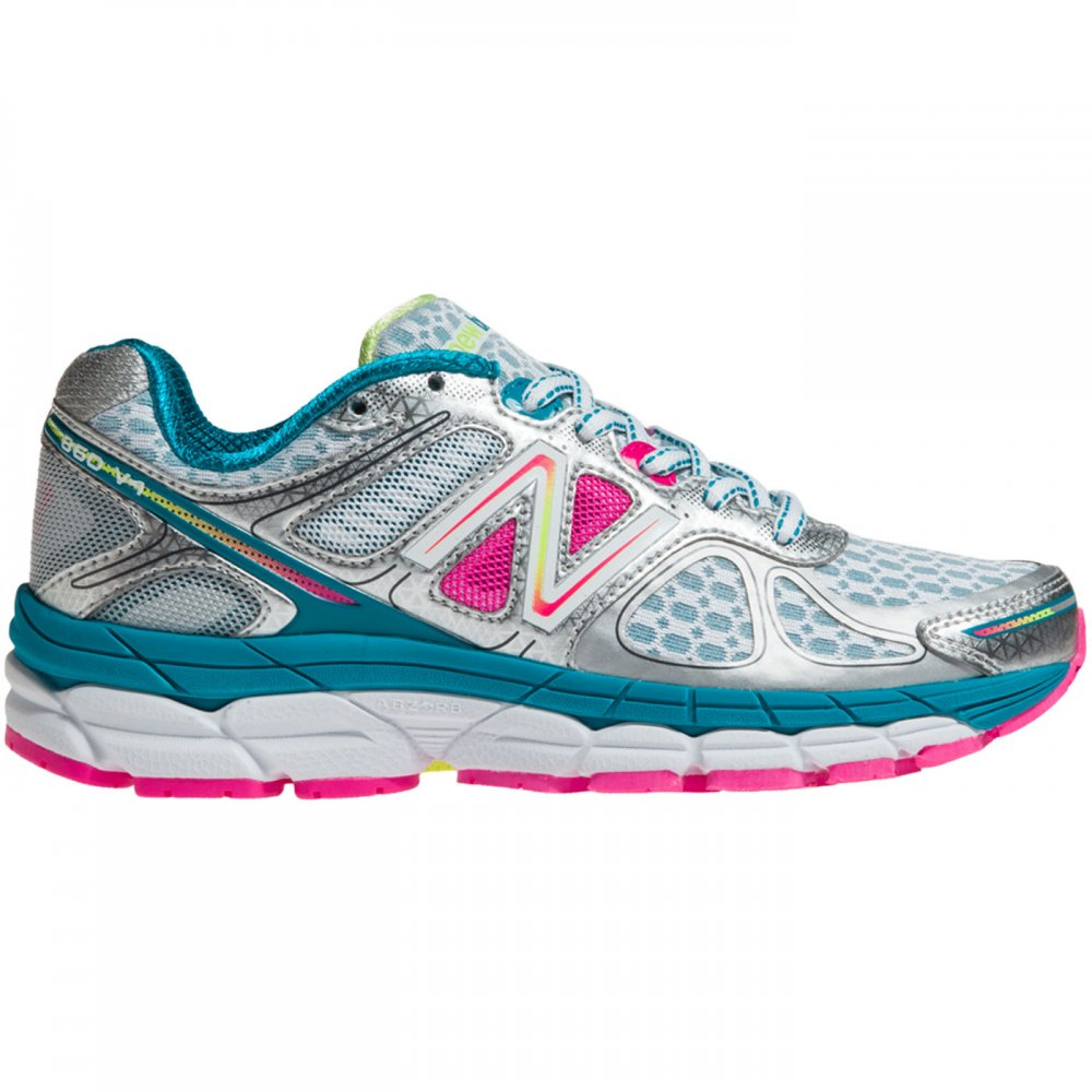 860 V4 Road Running Shoes White/Pink (B WIDTH - STANDARD) Womens