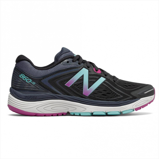 d98eb587b89 860 v8 Womens D Width (WIDE) Road Running Shoes with SUPPORT  Black Poisonberry
